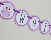 Owl Theme Baby Shower Banner- your choice of colors
