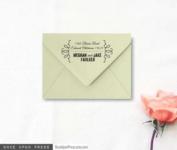Custom Wedding Rubber Stamp Ornate Brackets Return Address Stamp For Wedding Invitations