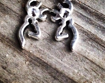 Antique Silver Browning Stud Earrings with Swarovski Crystals