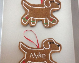 Labrador Retriever Personalized Felt Gingerbread or Angel Ornament