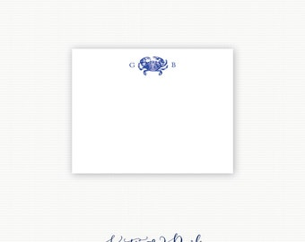 Crab Stationary, Crab Stationery, Maryland Blue Crab Thank You Notes, Maryland Crab Note Cards, Thank You Notes - Set of 25 Cards