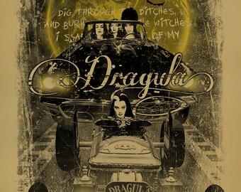 Dragula poster. Elvira. Vampira. Morticia Addams. Lily Munster. Rob Zombie. 12x18. Kraft paper. Munsters. Addam's Family. Horror. Art. Print