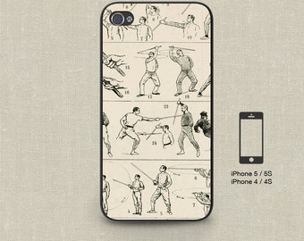 Cell Phone Case Iphone 5 / 5S / 5C 4 / 4S Samsung Galaxy S3 / S4 -Vintage French Cane Fighting Print Design Number 115