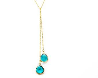 Blue Zircon Lariat Necklace, Wedding Jewelry, Bridesmaid Jewelry, Graduation Gift, Everyday Necklace