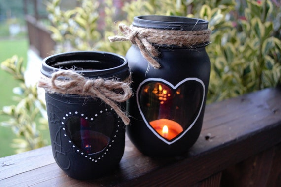 Chalkboard Mason Jar Candle Holders Hearts And Twine