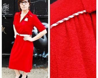 Vintage 70's/80's Red Terrycloth Dress w/Matching Belt & Handkerchief