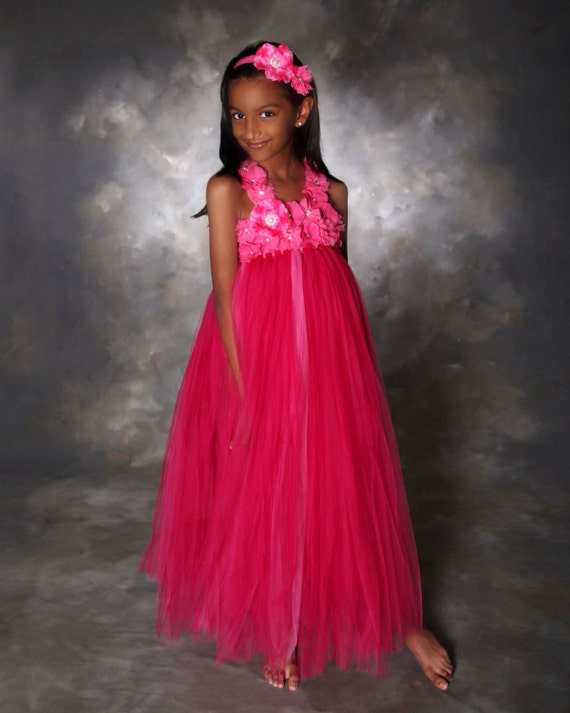 Hot Pink Tutu Dress- Flower girl dress- Flower girl dresses- Tutu Dress- Hot Pink Flower girl dress