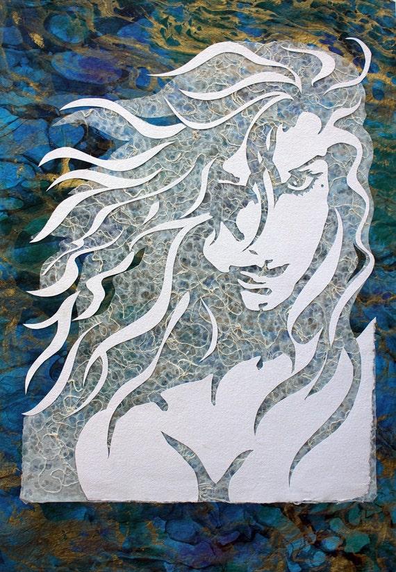 original art female figure in mixed media handmade paper on