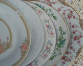 Vintage Mismatched China Salad Plates | Set of 5