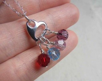 Heart Charm with Hand Wrapped Swarovski Crystal Beads Sterling Silver Hand Stamped Necklace - Personalized with initial for grandmother, mom