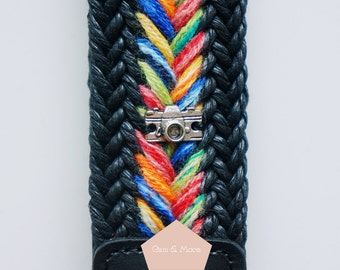 Camera Strap / Rainbow Collection / Leather Detailed / Boho Braid