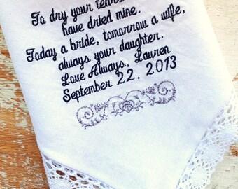 Embroidered Wedding Handkerchief Monogrammed custom wedding handkerchiefs mom Bride