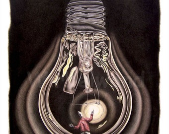 Print of an coloured pencil drawing -  Blackout (21 x 26 inch)