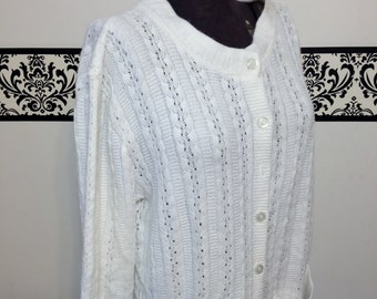 80's does 50's  White Knit Cardigan With Pockets by Anthony Richards Large / XL