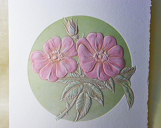 Wild Rose Note Card. Birthday. Love. Mothers Day. Embossed. Letterpress. Single card. Blank inside.