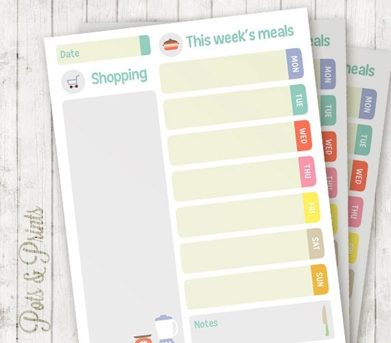 Printable Weekly Planners Cute Printable Meal Planner Cute