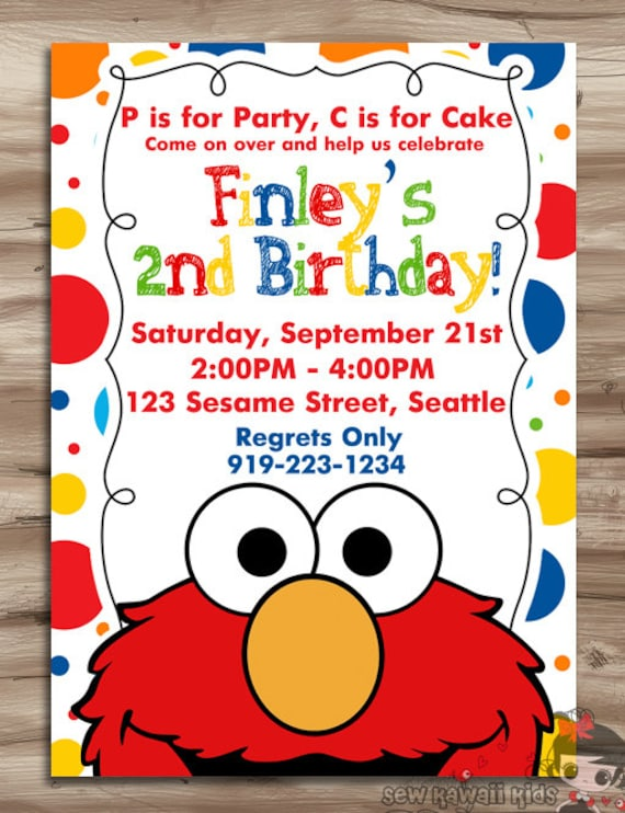ELMO Invitation Elmo Invitation Elmo Birthday Invite Sesame