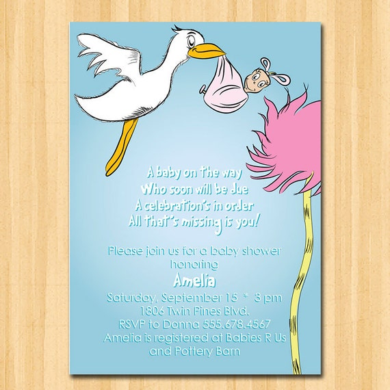 Items Similar To Dr Seuss Inspired PRINTABLE Baby Shower Invitations