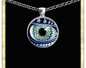 Dragon Eye 2 - Handmade pendant bezel with glass tile, Antique Bronze or Silver