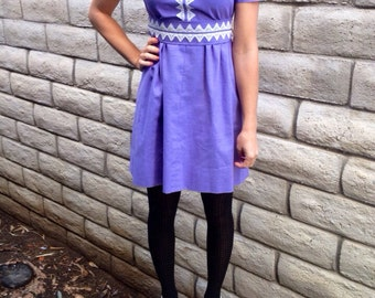 1960's-70's Periwinkle Handmade Mod Lace Dress