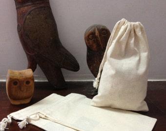 25 Bulk Premium Organic Cotton Muslin Bags 5 x 8 inches natural, plain, packaging, gift bags, party favor bags, baby, wedding, bridal shower