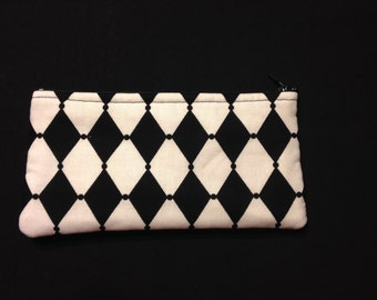 Black and White Diamond Harlequin Pencil Case / Zipper Pouch, Coin Purse, or Wristlet #28
