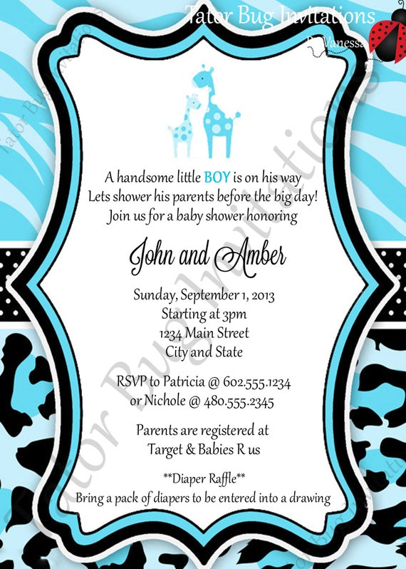 similar to personalized blue safari baby shower invitation on etsy
