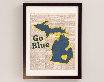 University of Michigan Dictionary Art Print - Michigan Art - Print on Vintage Dictionary Paper - I Heart Ann Arbor - Michigan Wolverines