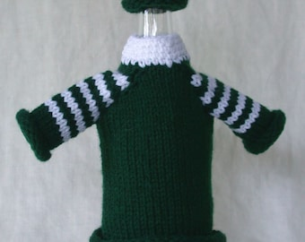 Christmas Green Wine Bottle Cover and Hat (wine bottle bling)