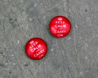 10pcs Red Keep Calm and Carry On Handmade Photo Glass Cabochon 12mm GD59