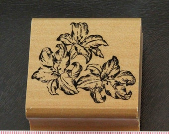 Trio of Lily Flowers Rubber Stamp
