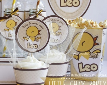 Little Chick Baby Shower or Birthday party Personalized Yellow Chicken new born baby chick party printables favor tags water bottle labels