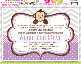 494: DIY - Cute Baby Monkey 3 Party Invitation Or Thank You Card