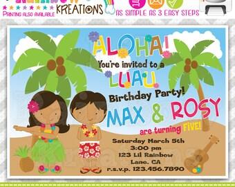234: DIY - Luau 3 Party Invitation Or Thank You Card