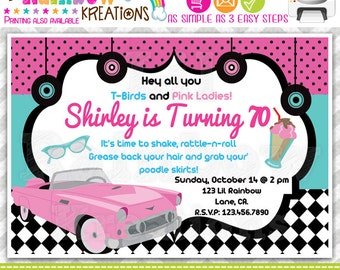 438: DIY - 1950's Pink Chevy Party Invitation Or Thank You Card