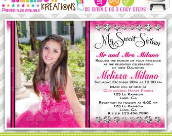 483: DIY - Hot Pink Damask Quinceañera or Sweet 16 Party Invitation Or Thank You Card