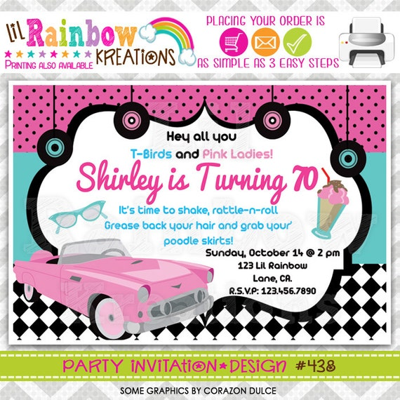 438  diy 1950 u0026 39 s pink chevy party invitation or thank you