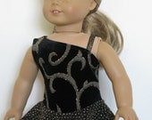 "Gold Glitter on Black Velvet Ice Skating Dress for American Girl and other 18"" Dolls"