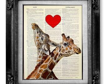 LOVE Giraffe Print, DICTIONARY Art Print, Dictionary Paper, Giraffe Decor GIRAFFE Wall Art, Giraffe Painting, Giraffe Drawing Artwork Poster