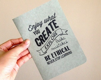 Graduation Card - Enjoy What You Create, Kraft Paper, 100% Recycled Post Consumer Paper, Eco friendly
