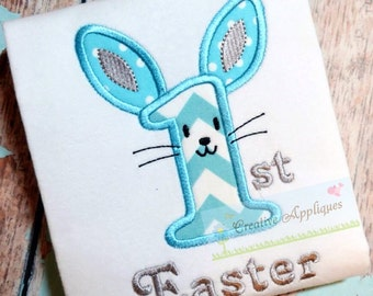 1st First Easter Bunny Machine Embroidery Applique Design 3 Sizes