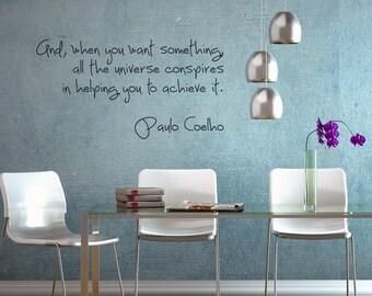 Paulo Coelho wall decal home office decor