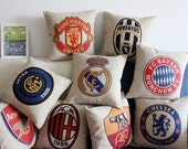 Football Club Logo Livepool Inter Chelsea Manchester Bayern RAM FCB AC Milan Arsenal Heavy Cotton Linen Pillow Cover Back Cushion Cover Gift