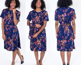 Vintage 1960's Blue Floral Two Piece Dress and Matching Sheer Jacket / Mod Scooter Dress / Size Large
