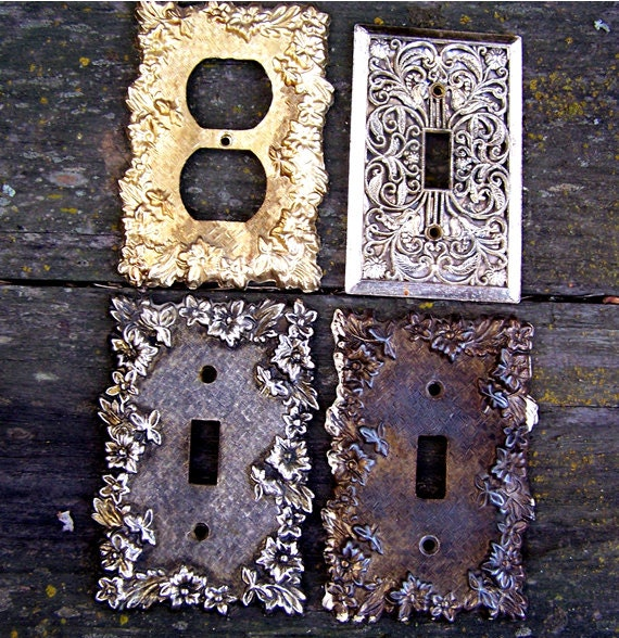 4 vintage decorative brass switch plate outlet by