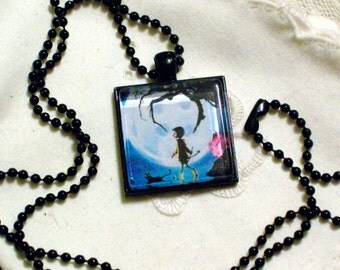 Coraline Necklace - Black Pendant Setting and Ball Chain - 25mm Square Glass Cabochon MADE TO ORDER