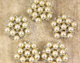 Pearl and Rhinestone Buttons - Set of 5 - Stunning Rhinestone & Pearl 25mm metal buttons