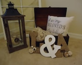Initial and Ampersand trio twine wrapped and decorated with Burlap and Lace Flowers