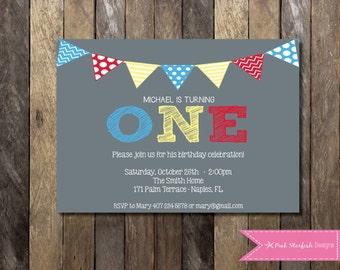 PRINTABLE  First Birthday Invitation - 1st Birthday Invitation Fully Customizable -  Girls Boys Birthday Party 4x6 or 5x7
