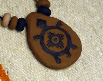 Petroglyph Rock Art Mimbres TURTLE Southwestern Clay Pendant Necklace